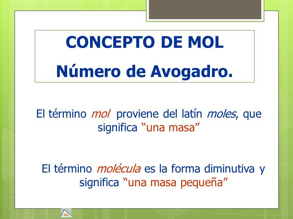 El término mol proviene del latín moles, que significa una masa