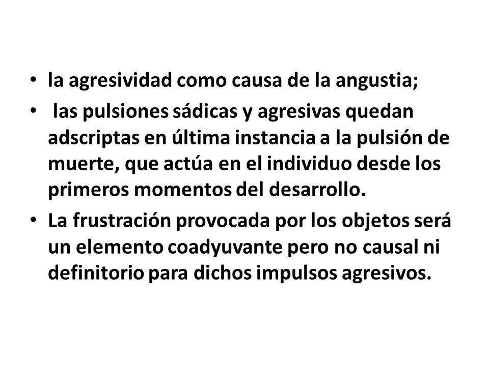 la agresividad como causa de la angustia;