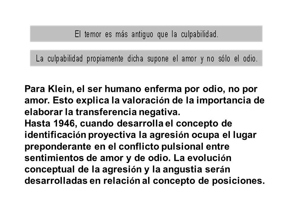 Para Klein, el ser humano enferma por odio, no por amor