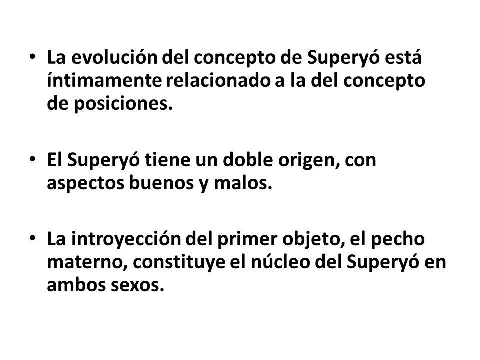 La evolución del concepto de Superyó está íntimamente relacionado a la del concepto de posiciones.