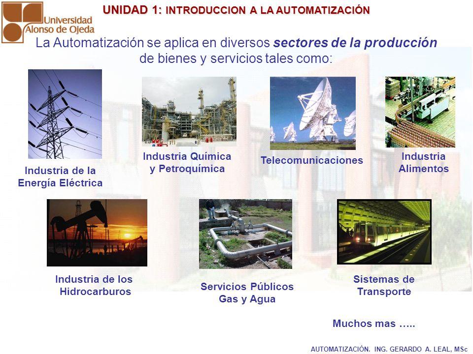 La Automatización se aplica en diversos sectores de la producción de bienes y servicios tales como: