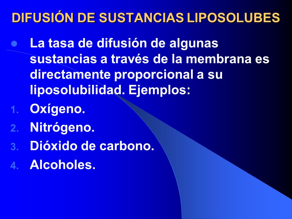 DIFUSIÓN DE SUSTANCIAS LIPOSOLUBES