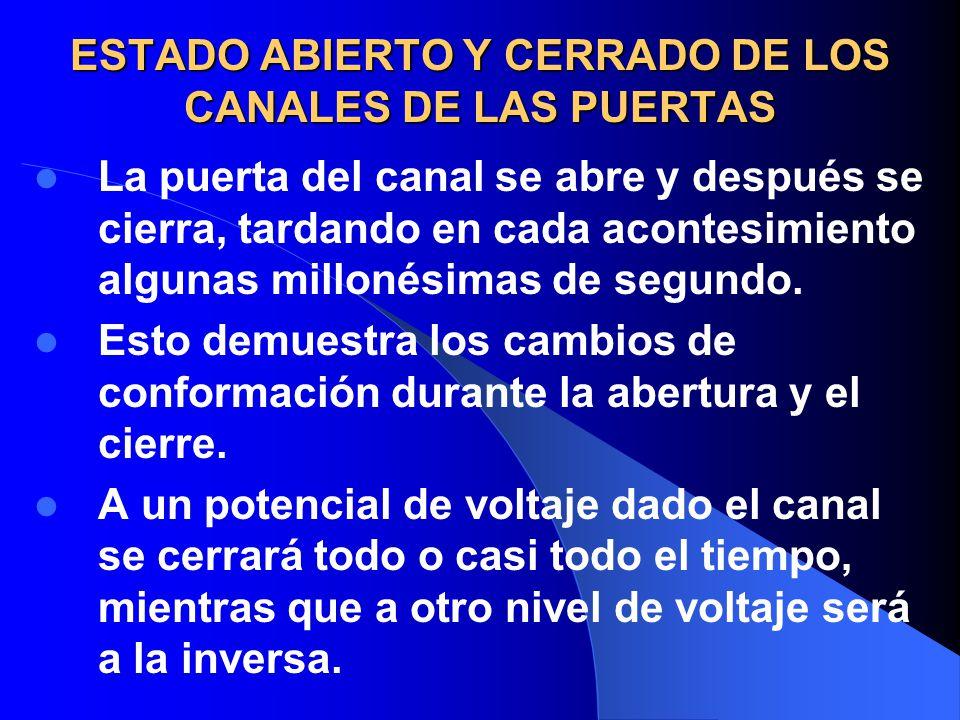 ESTADO ABIERTO Y CERRADO DE LOS CANALES DE LAS PUERTAS