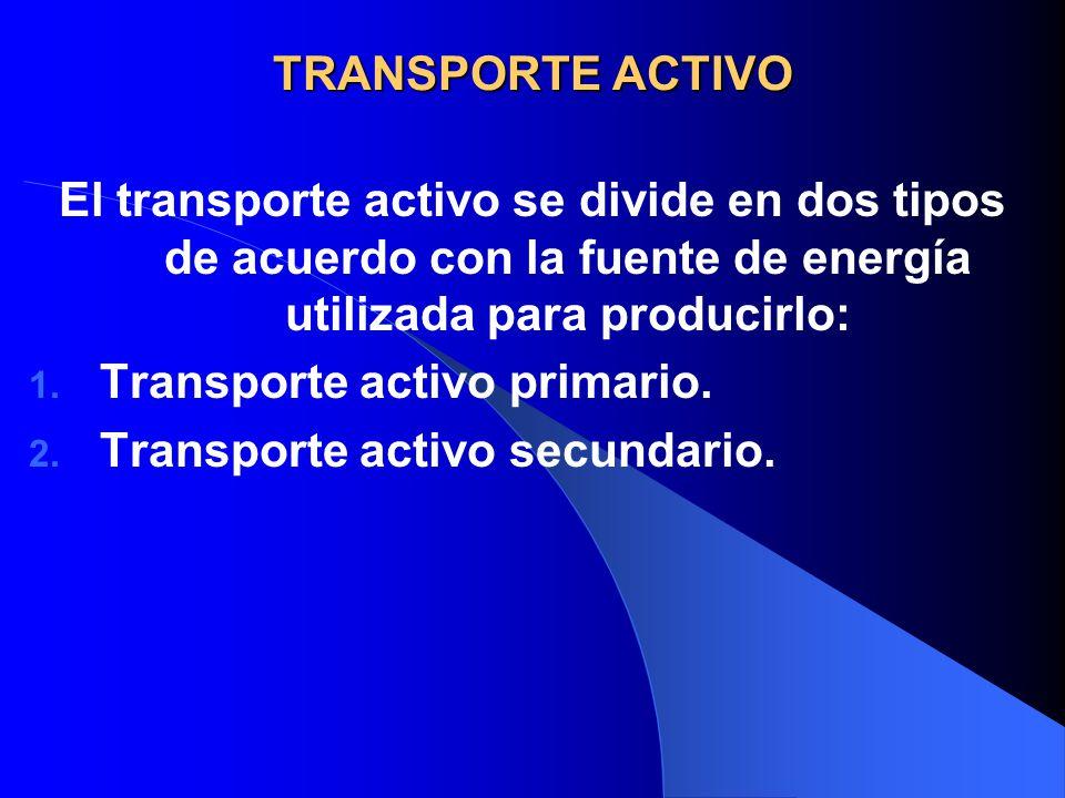 TRANSPORTE ACTIVO El transporte activo se divide en dos tipos de acuerdo con la fuente de energía utilizada para producirlo: