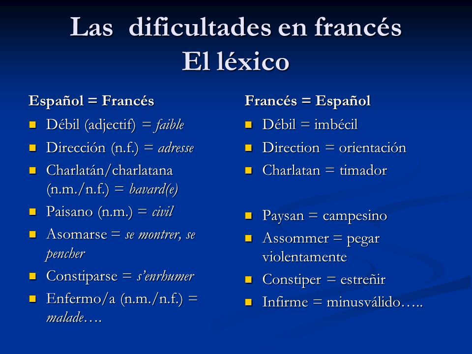 Las dificultades en francés El léxico