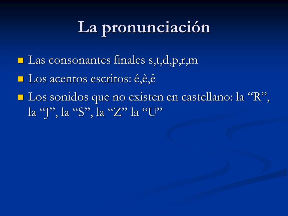 La pronunciación Las consonantes finales s,t,d,p,r,m