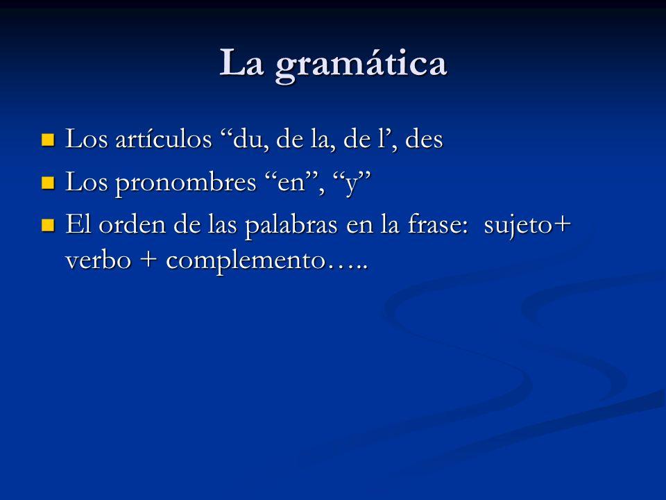 La gramática Los artículos du, de la, de l', des