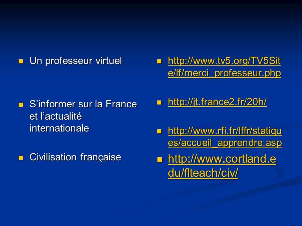 http://www.cortland.edu/flteach/civ/ Un professeur virtuel