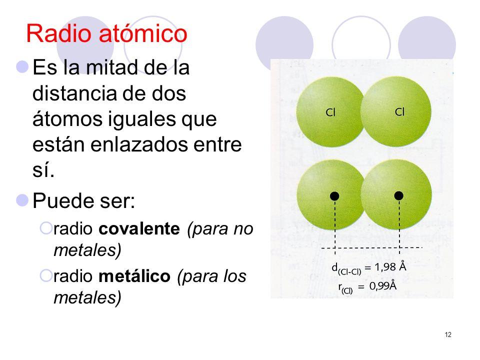 Radio atómicoEs la mitad de la distancia de dos átomos iguales que están enlazados entre sí. Puede ser: