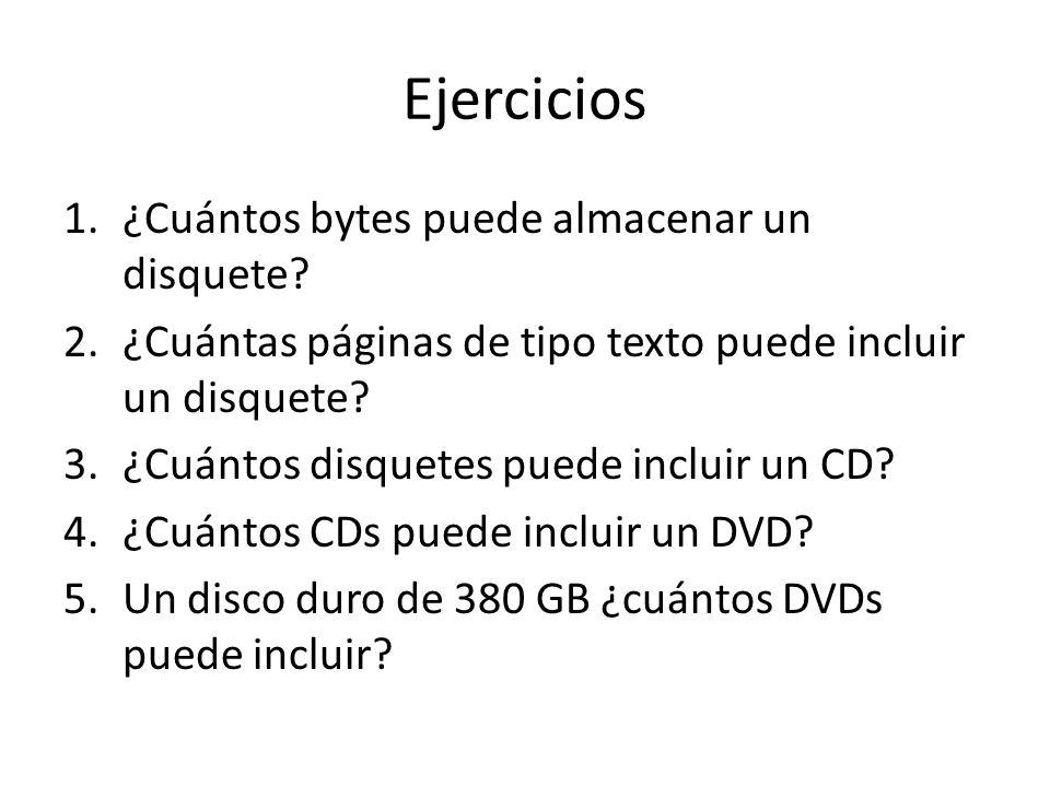 Ejercicios ¿Cuántos bytes puede almacenar un disquete
