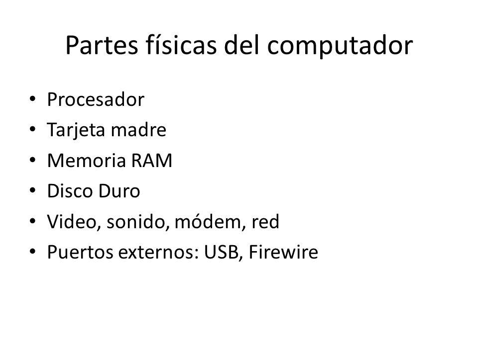 Partes físicas del computador