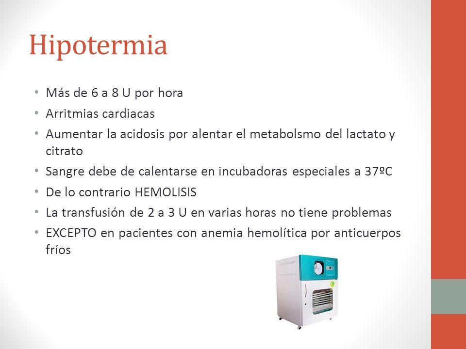 Hipotermia Más de 6 a 8 U por hora Arritmias cardiacas