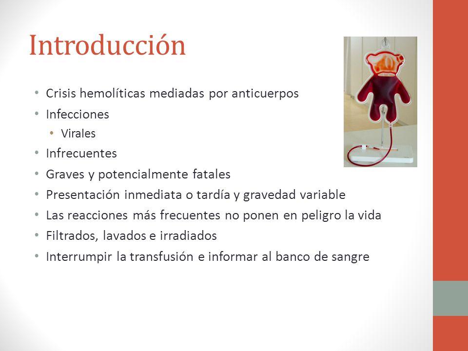 Introducción Crisis hemolíticas mediadas por anticuerpos Infecciones