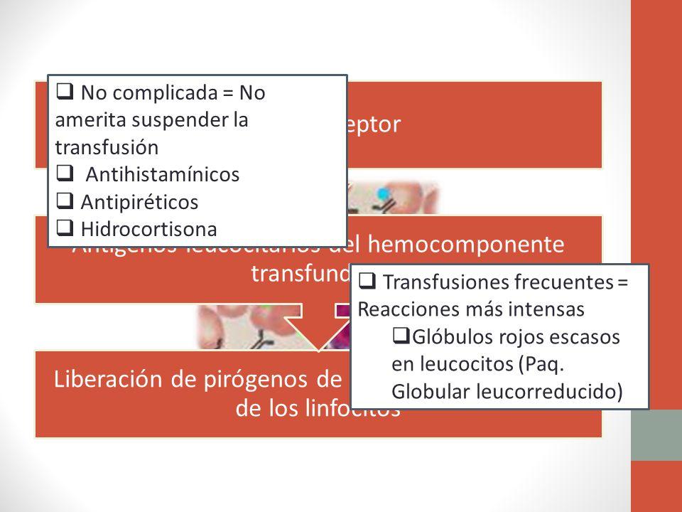 No complicada = No amerita suspender la transfusión