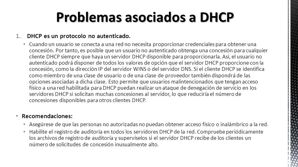 Problemas asociados a DHCP