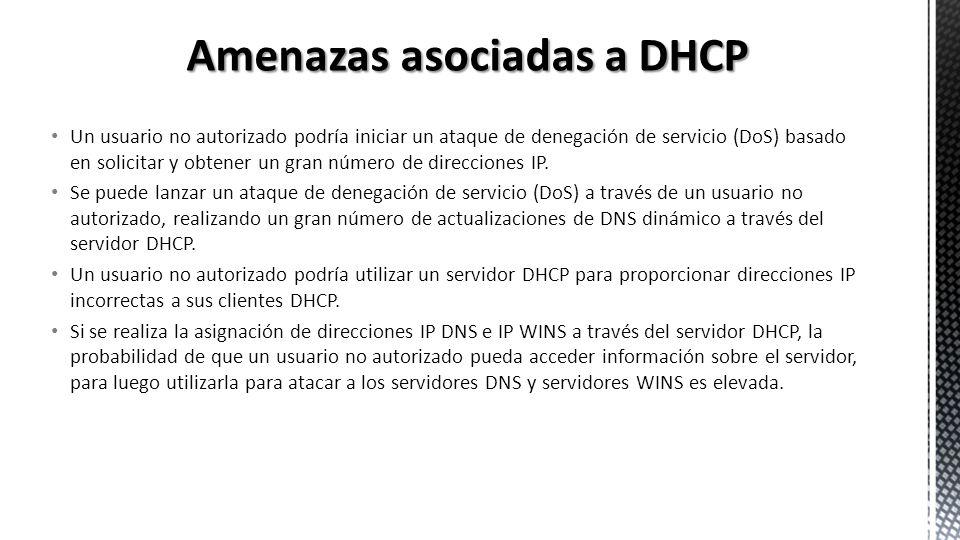 Amenazas asociadas a DHCP