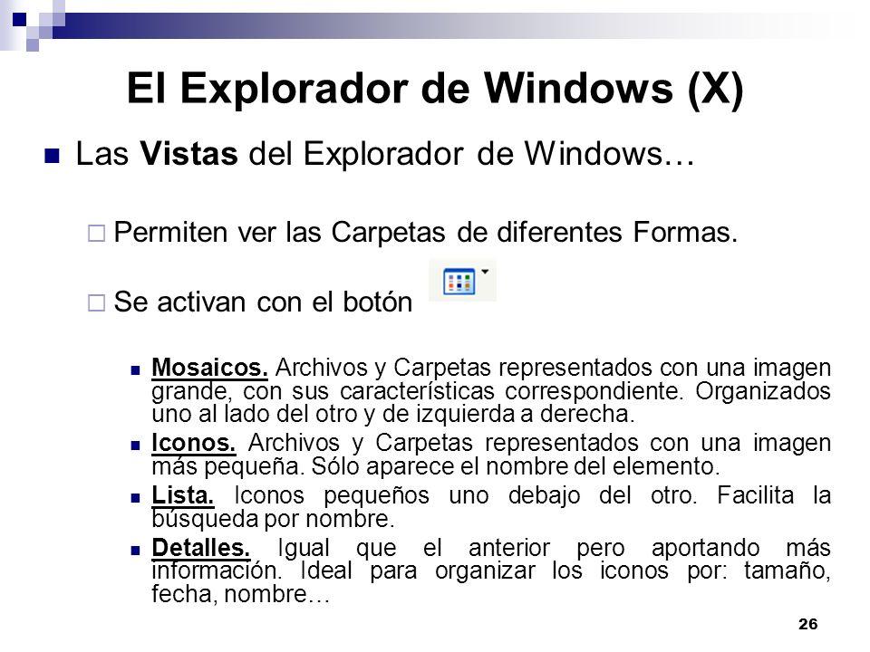 El Explorador de Windows (X)