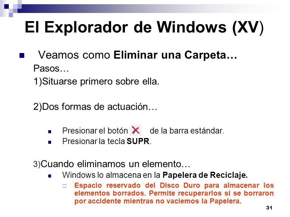 El Explorador de Windows (XV)