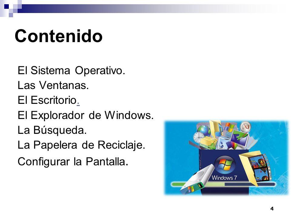 Contenido El Sistema Operativo. Las Ventanas. El Escritorio.