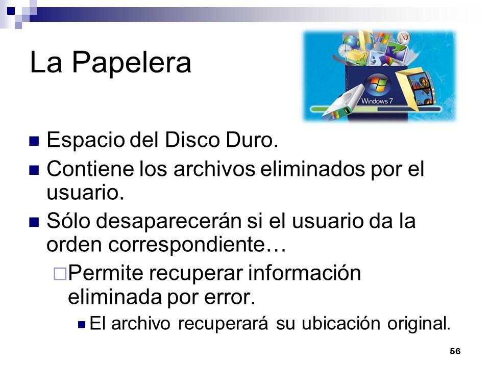 La Papelera Espacio del Disco Duro.