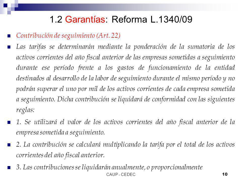 1.2 Garantías: Reforma L.1340/09 Contribución de seguimiento (Art. 22)