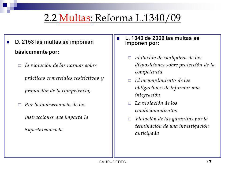 2.2 Multas: Reforma L.1340/09 D. 2153 las multas se imponían básicamente por: