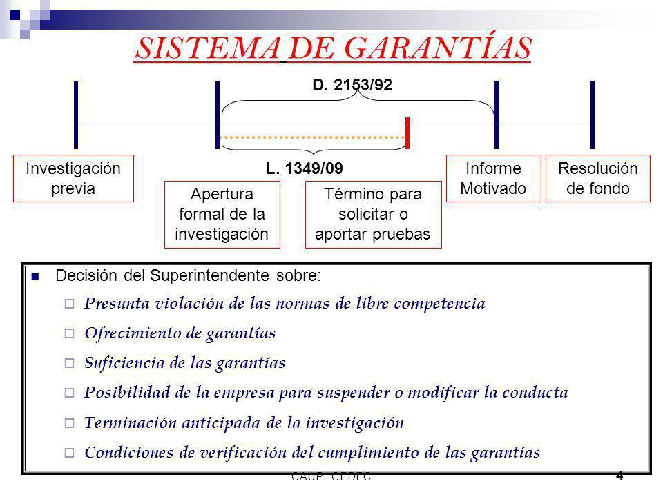 SISTEMA DE GARANTÍAS D. 2153/92 Investigación previa L. 1349/09