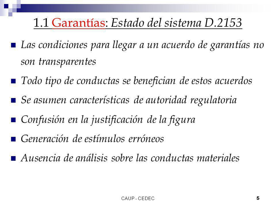 1.1 Garantías: Estado del sistema D.2153