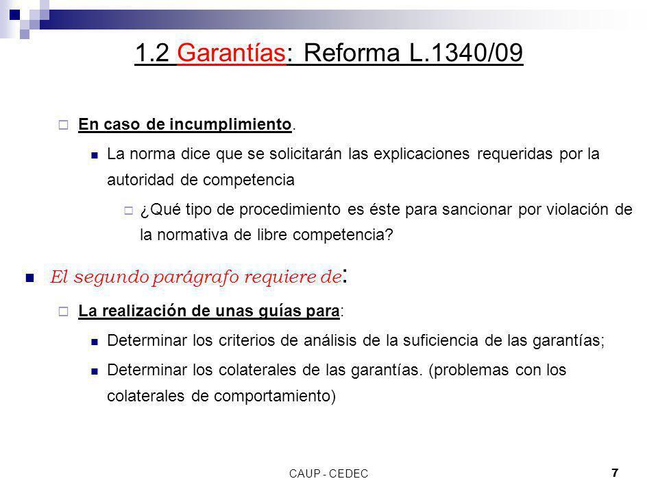 1.2 Garantías: Reforma L.1340/09 El segundo parágrafo requiere de: