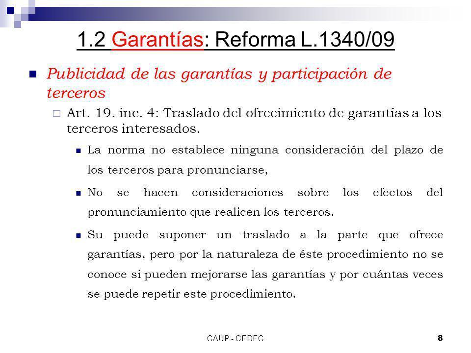 1.2 Garantías: Reforma L.1340/09 Publicidad de las garantías y participación de terceros.