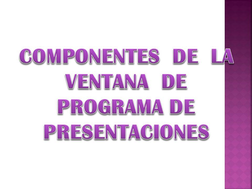 COMPONENTES DE LA VENTANA DE PROGRAMA DE PRESENTACIONES