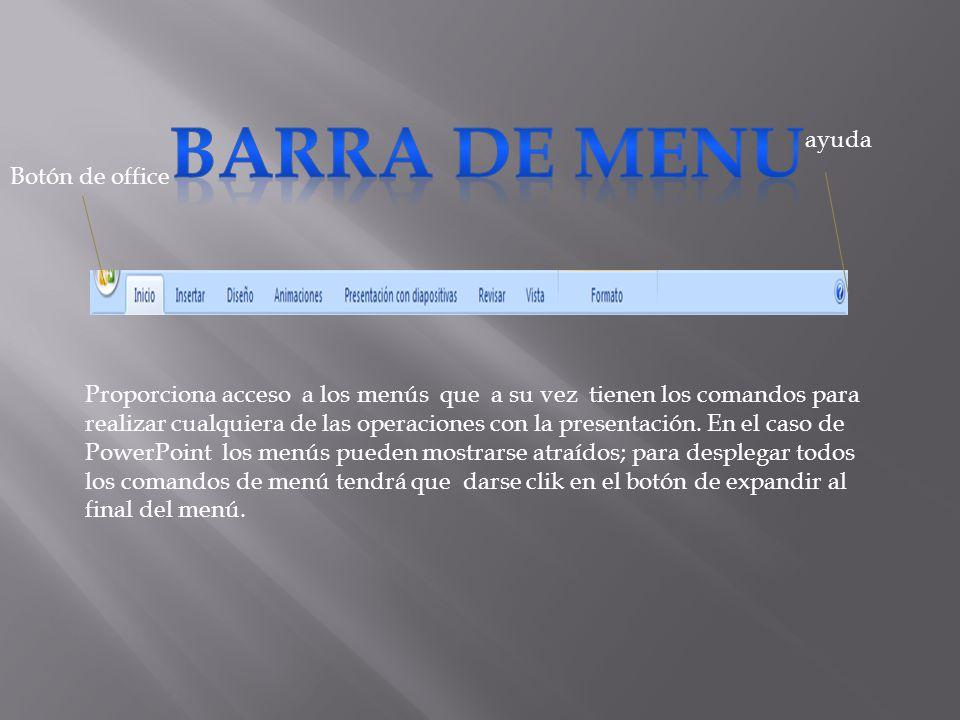 BARRA DE MENU ayuda Botón de office