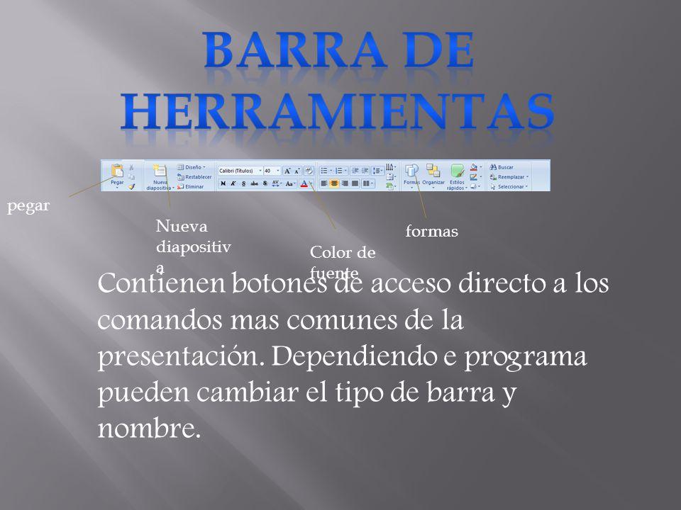 BARRA DE HERRAMIENTAS pegar. Nueva diapositiva. formas. Color de fuente.