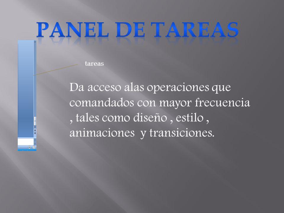 PANEL DE TAREAS tareas.