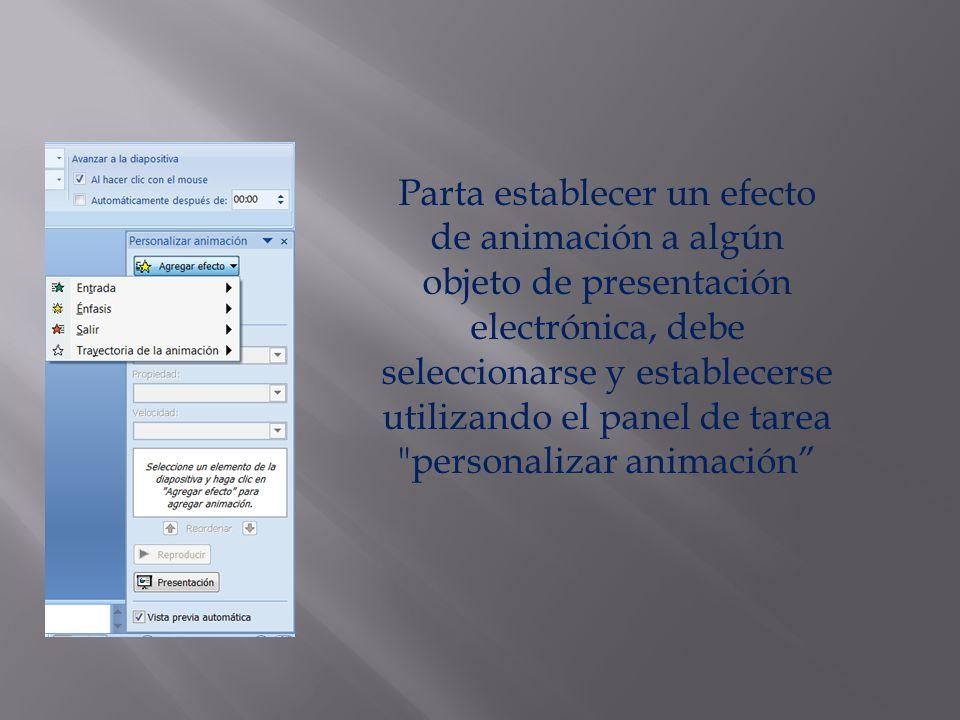 Parta establecer un efecto de animación a algún objeto de presentación electrónica, debe seleccionarse y establecerse utilizando el panel de tarea personalizar animación