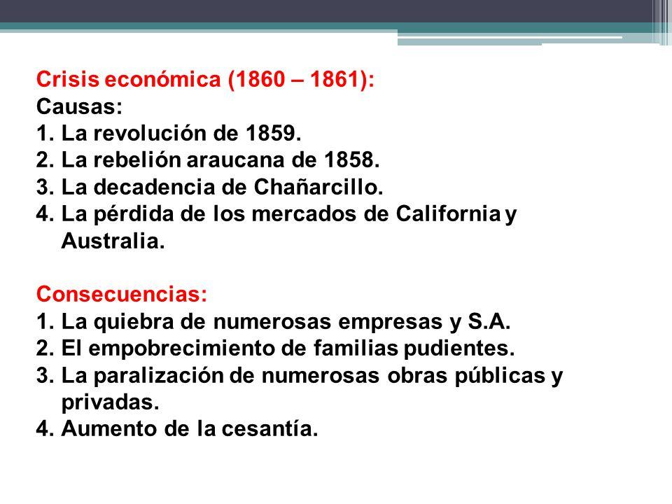 Crisis económica (1860 – 1861): Causas: La revolución de 1859. La rebelión araucana de 1858. La decadencia de Chañarcillo.
