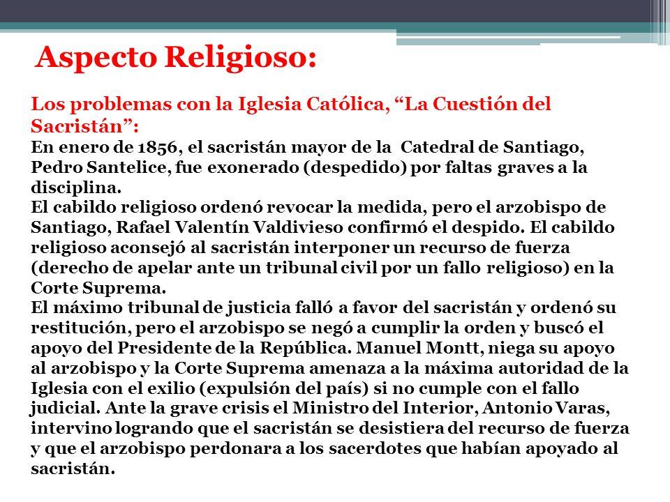 Los problemas con la Iglesia Católica, La Cuestión del Sacristán :