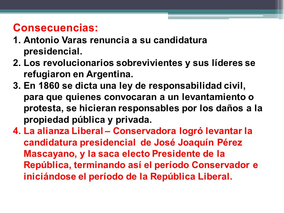 Consecuencias: Antonio Varas renuncia a su candidatura presidencial.