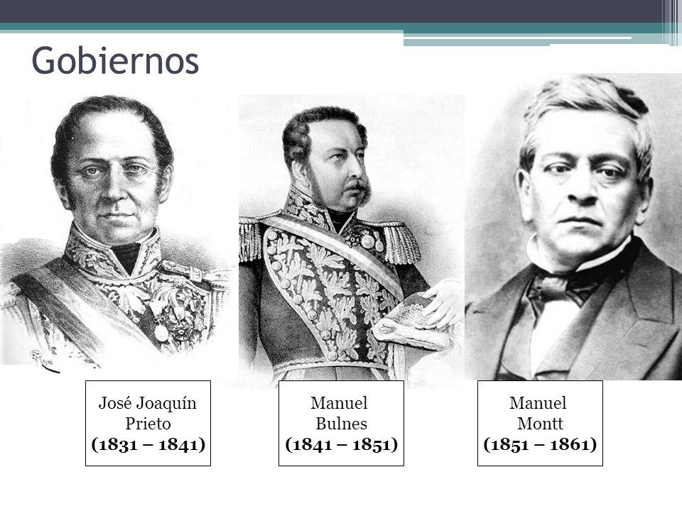 Gobiernos José Joaquín Prieto (1831 – 1841) Manuel Bulnes