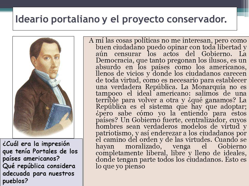 Ideario portaliano y el proyecto conservador.