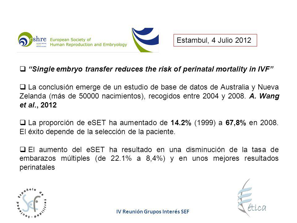 Estambul, 4 Julio 2012 Single embryo transfer reduces the risk of perinatal mortality in IVF