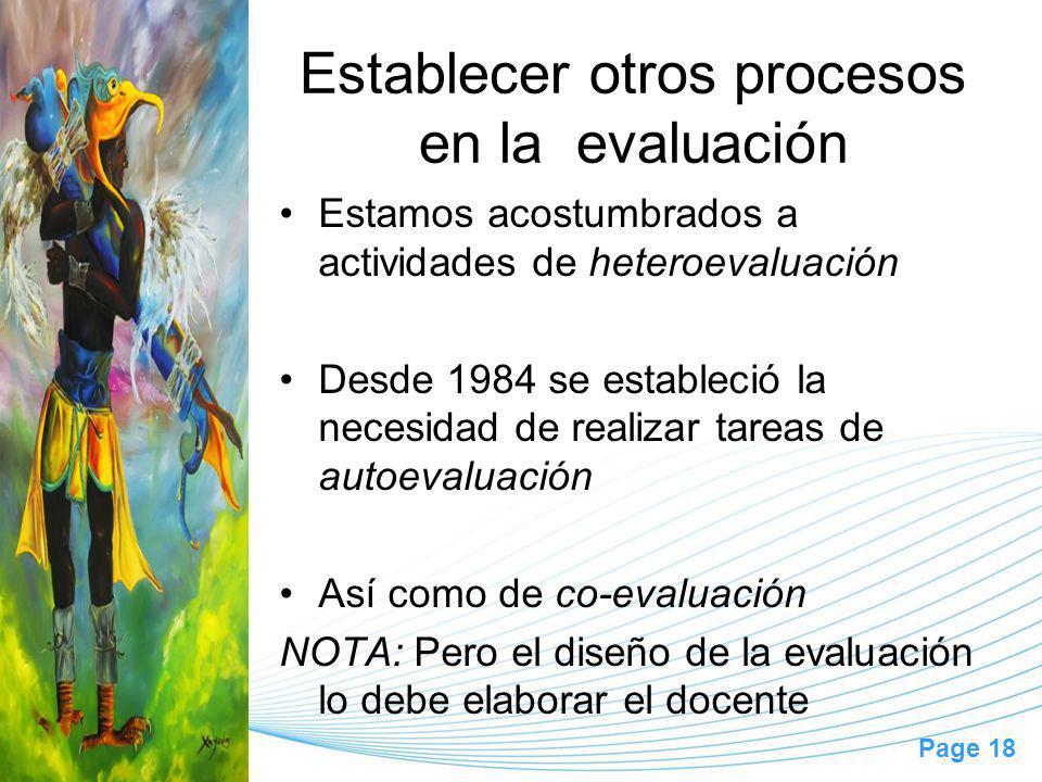 Establecer otros procesos en la evaluación
