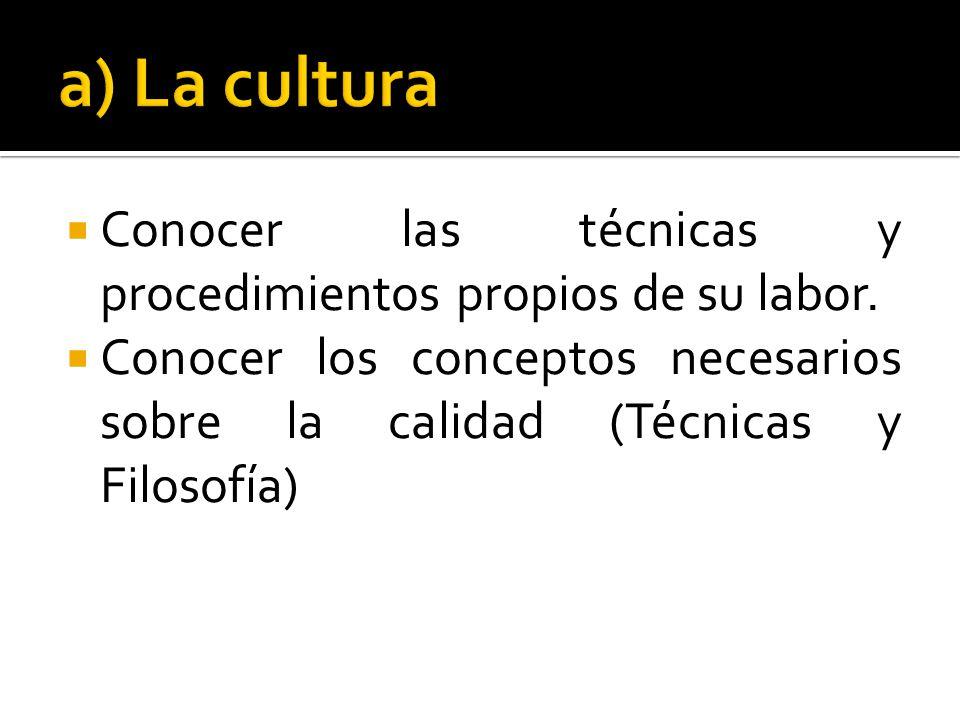 a) La cultura Conocer las técnicas y procedimientos propios de su labor.