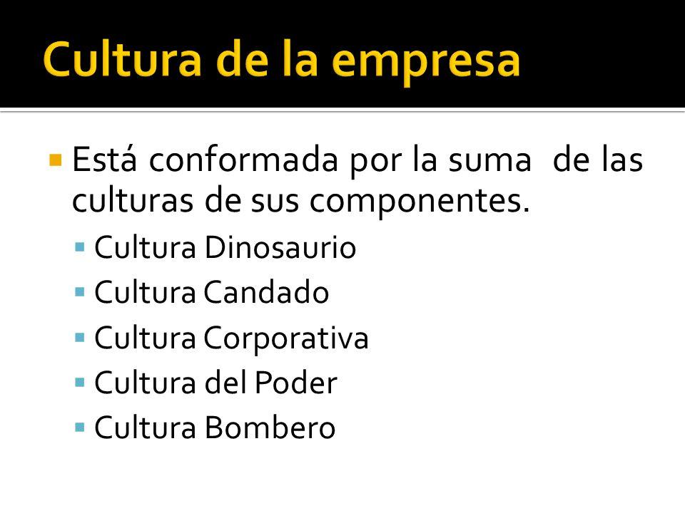 Cultura de la empresa Está conformada por la suma de las culturas de sus componentes. Cultura Dinosaurio.