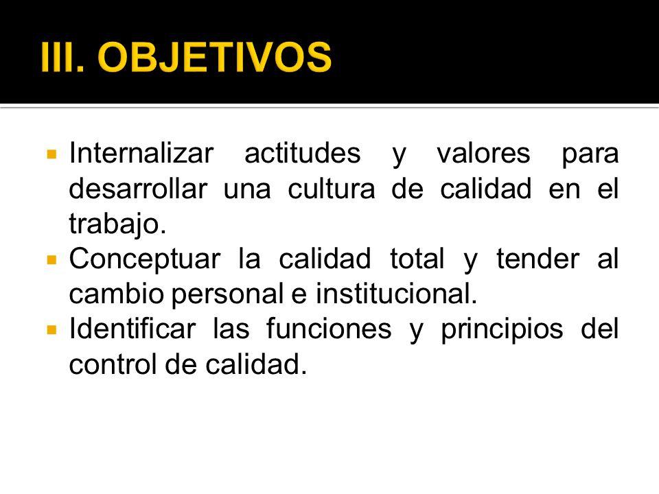 III. OBJETIVOS Internalizar actitudes y valores para desarrollar una cultura de calidad en el trabajo.