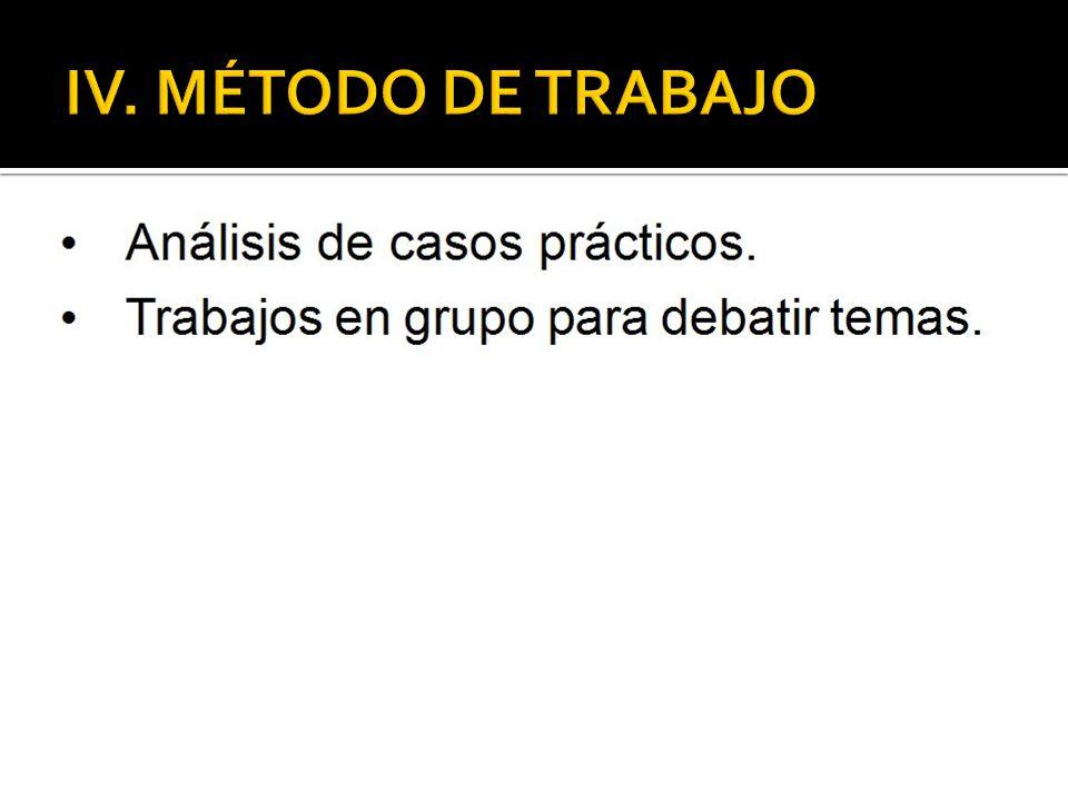 IV. MÉTODO DE TRABAJO