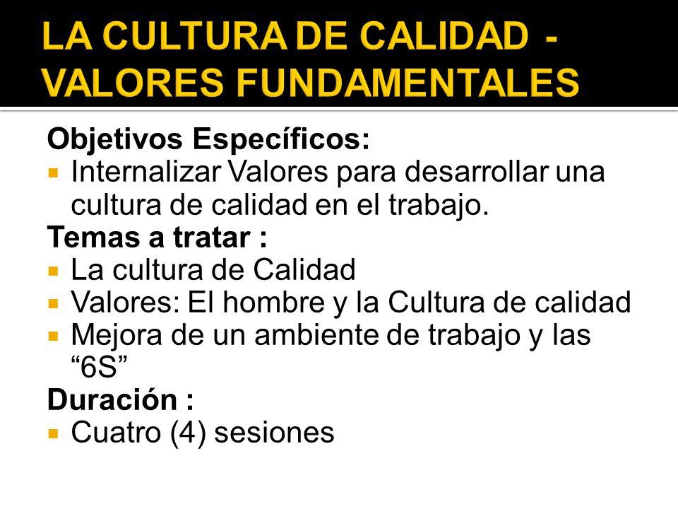 LA CULTURA DE CALIDAD - VALORES FUNDAMENTALES