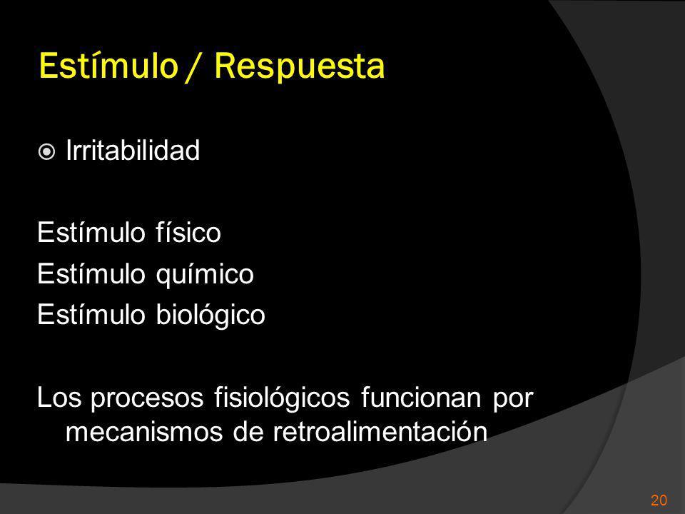Estímulo / Respuesta Irritabilidad Estímulo físico Estímulo químico