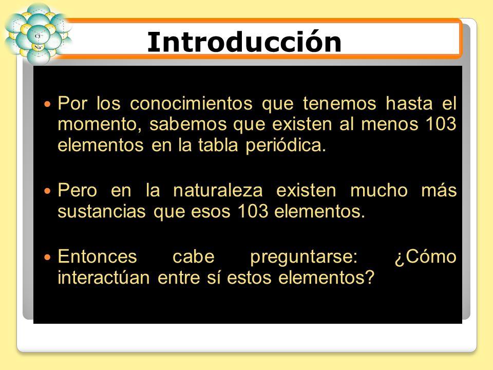 Introducción Por los conocimientos que tenemos hasta el momento, sabemos que existen al menos 103 elementos en la tabla periódica.