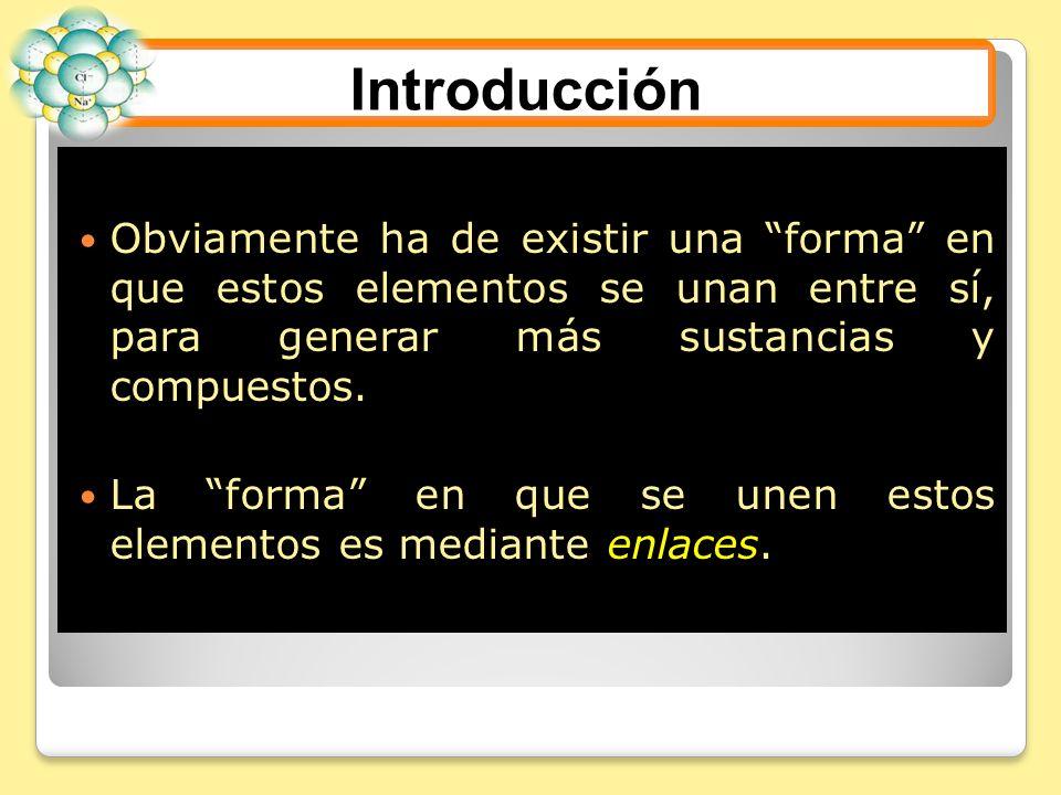 Introducción Obviamente ha de existir una forma en que estos elementos se unan entre sí, para generar más sustancias y compuestos.